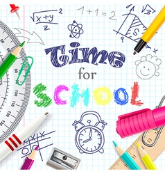 Time for school creative background vector
