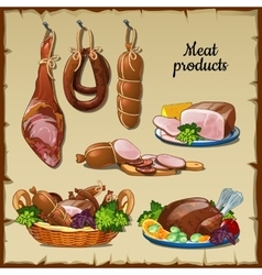 Delicious sausages hams and and other meat vector