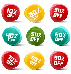 Circle discount tags set isolated on white vector