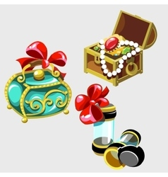 Open treasure chest and closed casket of princess vector
