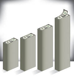 Bar graph made of dollar bills vector
