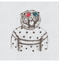 Hipster tiger dressed in the blouse vector image