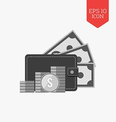 Wallet and stack of coins icon money concept flat vector
