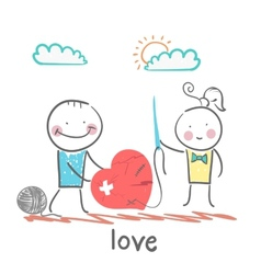 a girl and a guy with a needle and thread sewn vector image