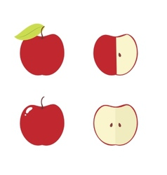 Apple apple core bitten half icons vector