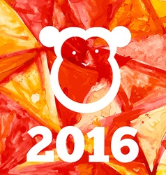 Aquarelle fire monkey of 2016 year vector