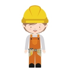 Avatar worker with toolkit and brown hair vector