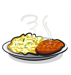 cutlet with potato vector image