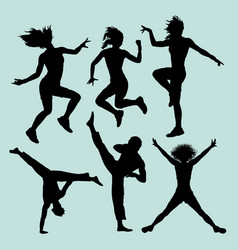 dancing and martial art silhouette vector image vector image