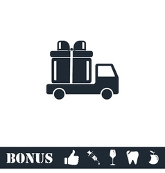 Delivery gift icon flat vector image vector image