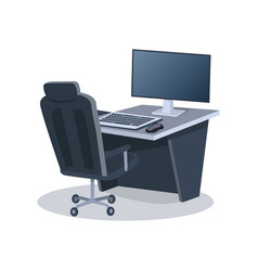 Desk with computer and chair vector