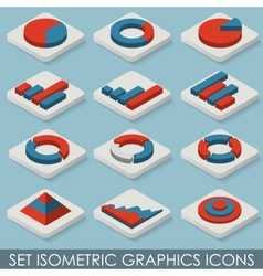 Flat Set Isometric Graphics Icons Infographics vector image