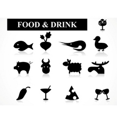 food drink icons vector image vector image