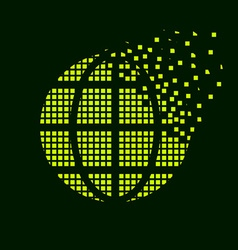 Green globe flying pixel symbol vector