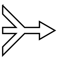 Merge arrow right stroke icon vector