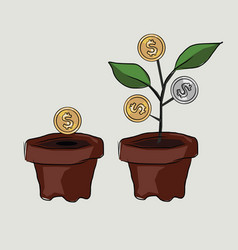 money investment coin plant investment create tree vector image vector image