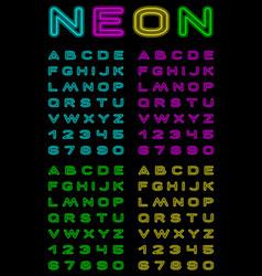 Neon color font vector