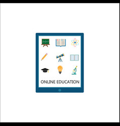 Online education flat icon set e-learning vector