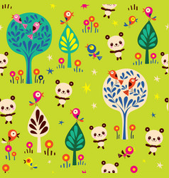 Panda bears in forest seamless pattern vector