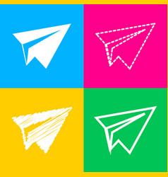 Paper airplane sign four styles of icon on four vector