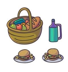 Picnic food set flat cartoon outdoor meal vector