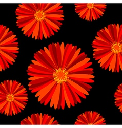 Seamless pattern with red flowers over black vector