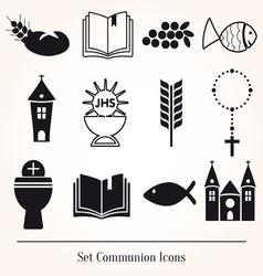 Set communion catholic icons vector image vector image