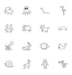Set of 16 editable zoo icons includes symbols vector