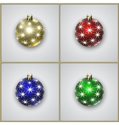 Set of Four Christmas Decoration Balls With Stars vector image vector image