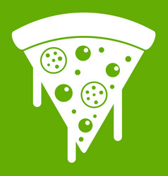 Slice of pizza with salami melted cheese icon vector