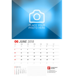 Wall calendar planner for 2018 year june print vector