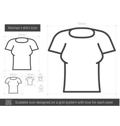 woman t-shirt line icon vector image