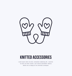 Woolen mittens knitted clothing vector