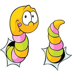 Worm bite through - cute cartoon vector
