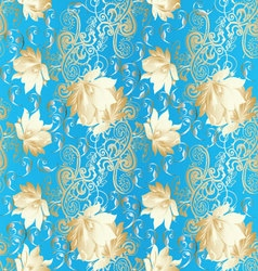 Light blue vintage floral seamless pattern vector