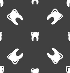Tooth sign seamless pattern on a gray background vector
