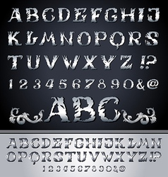 Vintage alphabet set on background vector