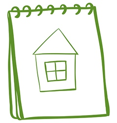 A notebook with a sketch of a house at the cover vector image