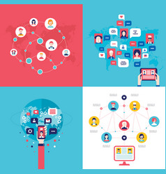 social network technology banner set user vector image