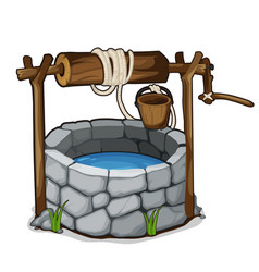 Brick well with blue water and wooden bucket vector