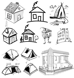 Collection of home apartments vector