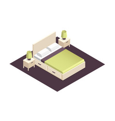 Isometric part of the bedroom interior design vector