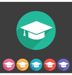 Flat graduation cap icon vector