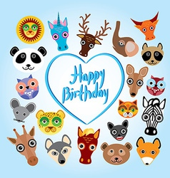 Happy birthday card funny cute animal face vector