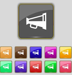 Megaphone soon loudspeaker icon sign set with vector