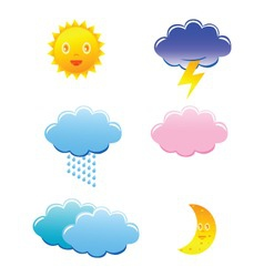 Cute weather icons on white background vector
