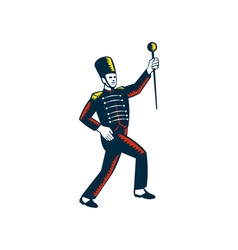 Drum major marching band leader woodcut vector