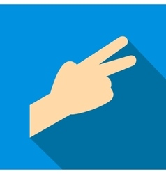 Hand with two fingers flat icon vector