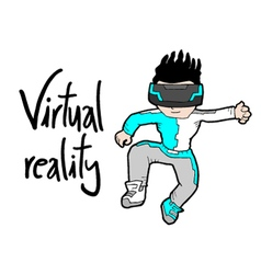 Virtual reality kid vector