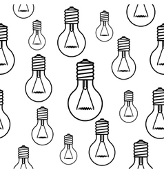 Light bulbs seamless black pattern vector